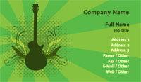 Green Guitar Silhouette Business Card Template